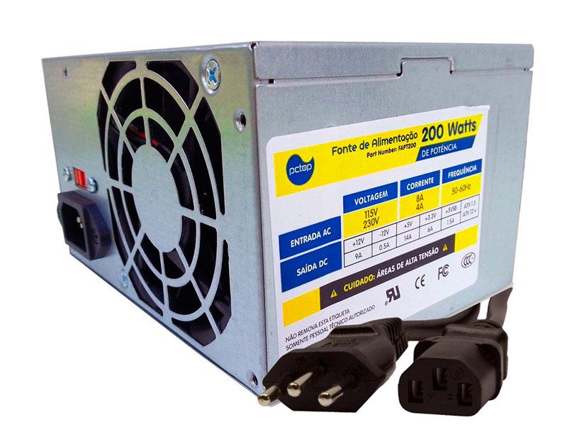 PCSHOP Informática Fonte ATX 200W PCTOP 20+4P FAPT200 c/Cabo