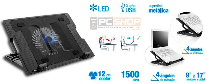 "PCSHOP Informática Suporte Notebook com Cooler Multilaser até 17"" AC166"