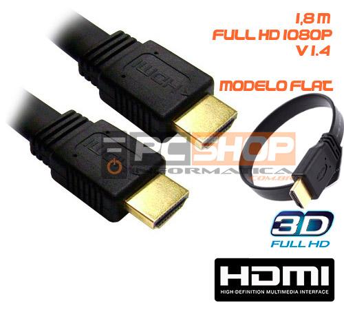 PCSHOP Informática Cabo HDMI 1.4 Flat 1080p 1,8m Mymax