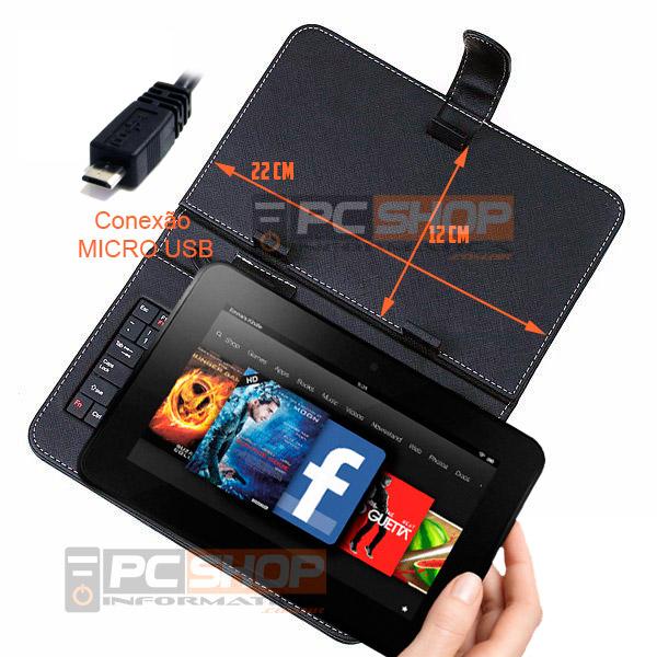 "PCSHOP Informática Capa para Tablet 7"" com Teclado Micro USB Preto Mymax"
