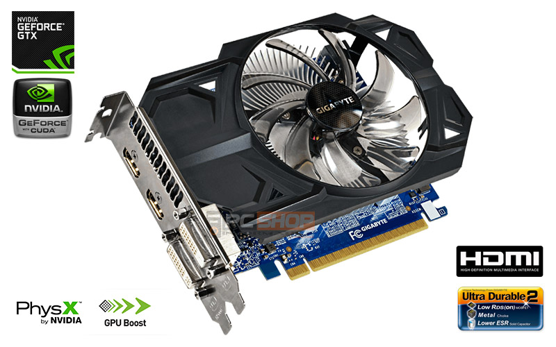 PCSHOP Informática Placa de Vídeo GeForce GTX 750 TI OC GIGABYTE 1GB GDDR5 128Bit