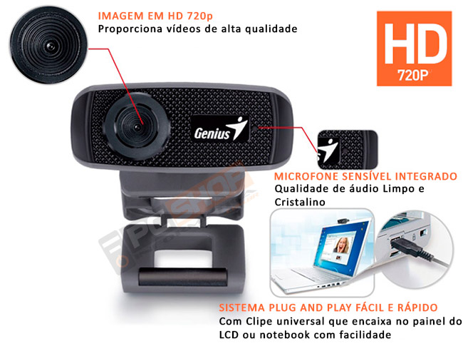 PCSHOP Informática Webcam HD 720P USB 2.0 GENIUS FACECAM 1000X Zoom 3X