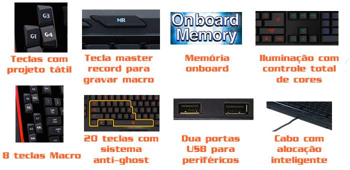 PCSHOP Informática Teclado Gamer Genius Manticore Profissional USB Gx Gaming