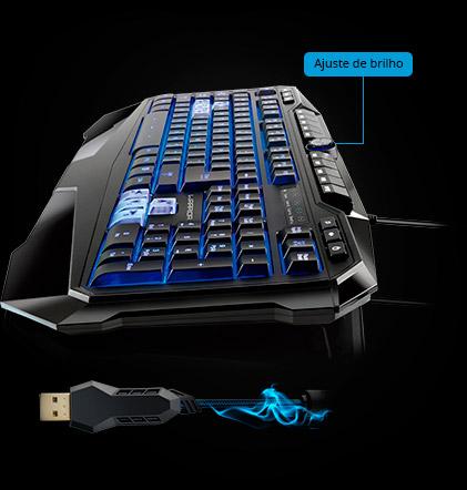 PCSHOP Informática Teclado Gamer Multilaser Profissional Warrior LED USB TC167