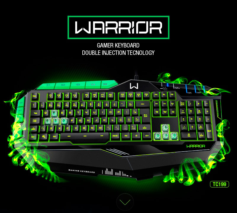PCSHOP Informática Teclado Gamer Multilaser Warrior LED 7 Cores USB TC199