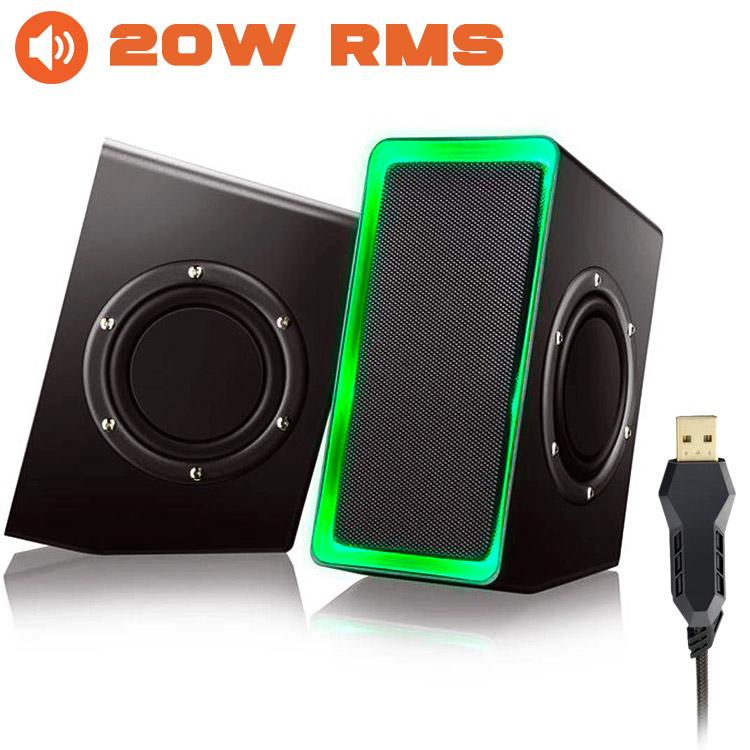 PCSHOP Informática Caixa de Som Gamer USB 20W RMS Multilaser com LED SP201