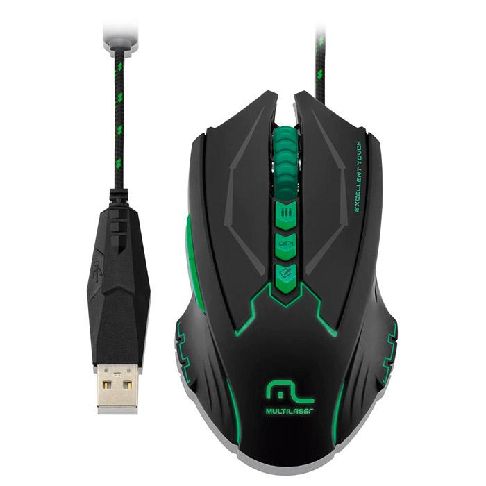 PCSHOP Informática Mouse Gamer Multilaser 2500dpi 8 Botões MO218