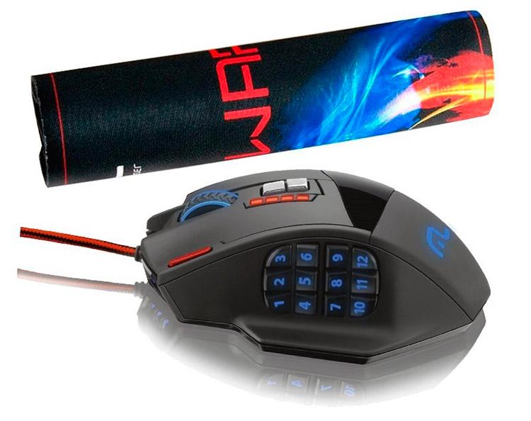 PCSHOP Informática Mouse Gamer Multilaser Laser 4000dpi 18 Botões MO206
