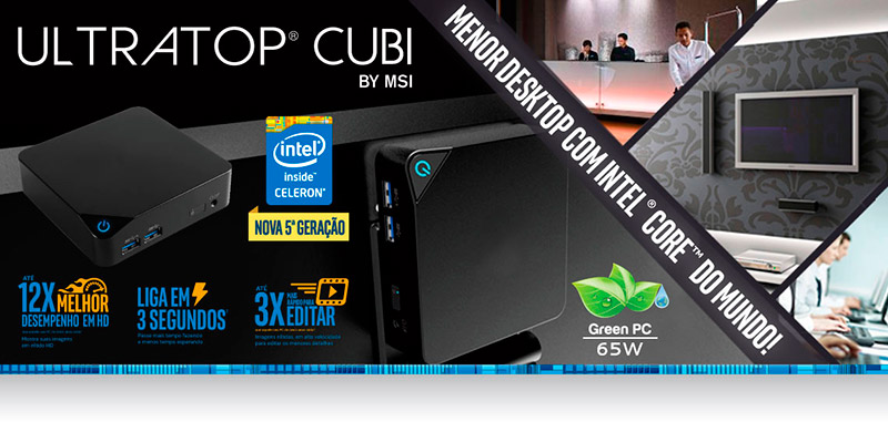 PCSHOP Informática Mini PC Ultratop Cubi Desktop Intel Dual Core 3205U 4GB SSD 120GB Hdmi