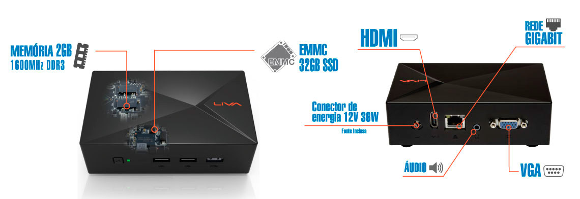 PCSHOP Informática Mini PC Ultratop Liva Desktop Intel Dual Core N2808 2GB SSD 32GB Hdmi