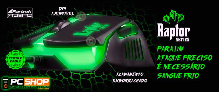 PCSHOP Informática Mouse Gamer Fortrek Raptor 2400dpi USB Preto/Verde OM-801