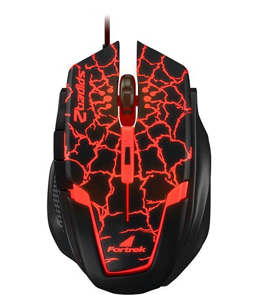 PCSHOP Informática Mouse Gamer Fortrek Spider 2 2400dpi USB Preto/Vermelho OM-705