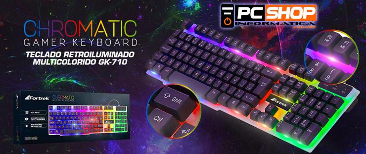 PCSHOP Informática Teclado Gamer Fortrek Multimídia Chromatic LED Colorido GK-710