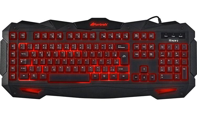 PCSHOP Informática Teclado Gamer Fortrek Multimídia Spider Venom 2 Preto/Vermelho GK-705