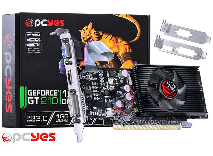PCSHOP Informática Placa de Vídeo GeForce GT 210 PCYES 1GB DDR2 64Bit Low Profile
