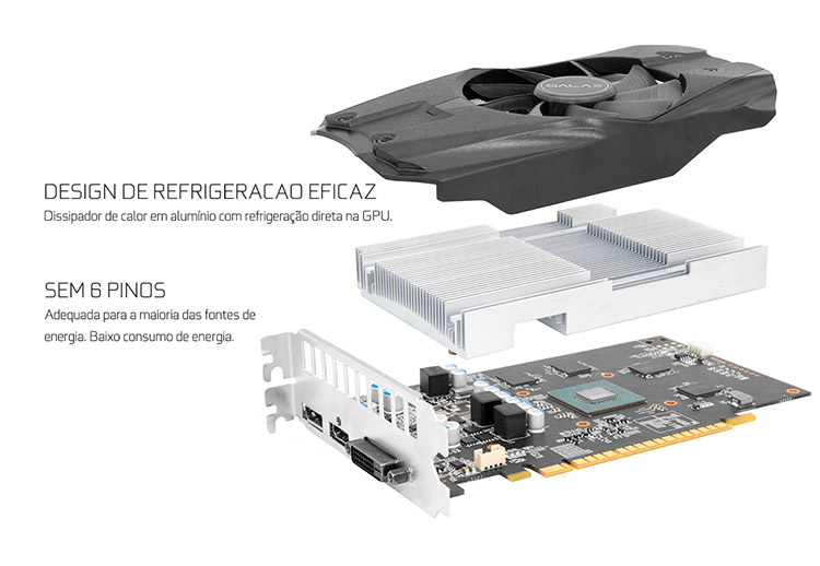 PCSHOP Informática Placa de Vídeo Geforce GTX 1050TI OC Galax 4GB DDR5 128Bit