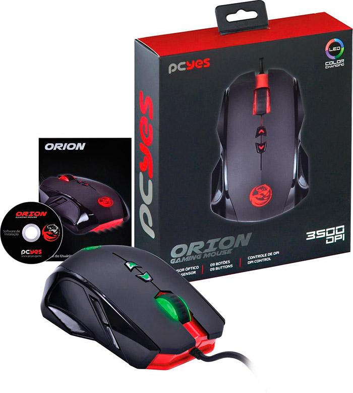 PCSHOP Informática Mouse Gamer Pcyes Orion 3500dpi 9 Botões USB com LEDs
