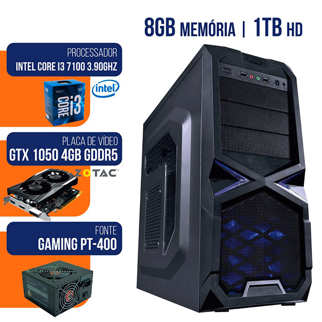 PCSHOP Informática PC Gamer Intel I3 7100 3.9GHZ HD 1TB 8GB Ram GTX1050TI 4GB 128Bits