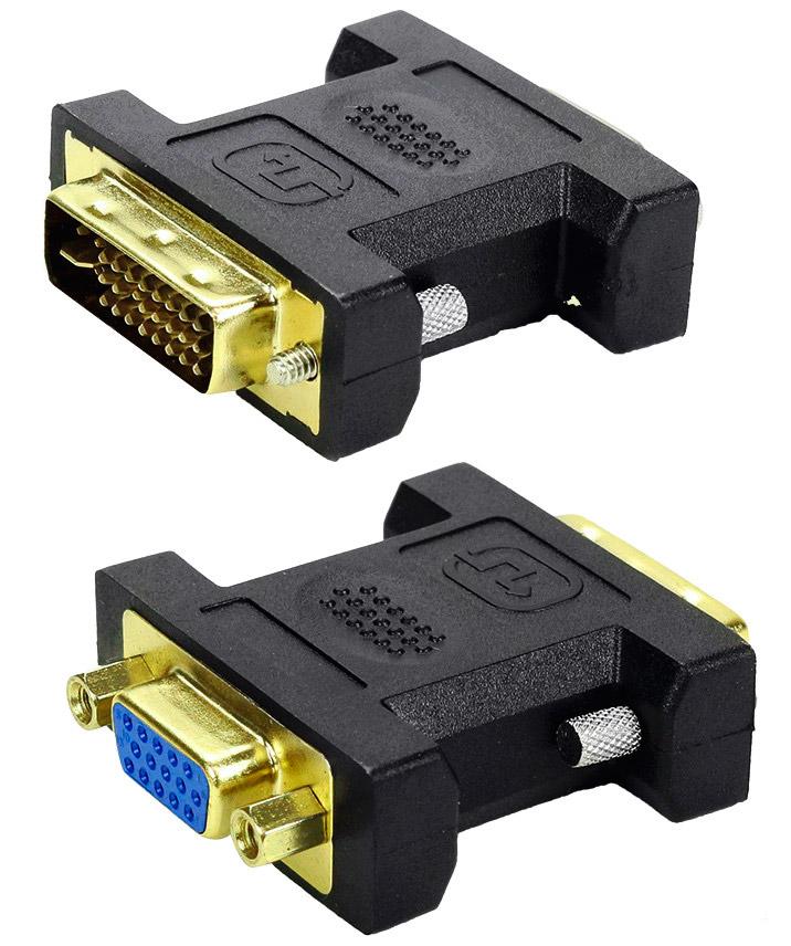 PCSHOP Informática Adaptador DVI Macho 24+5 para VGA Fêmea Preto