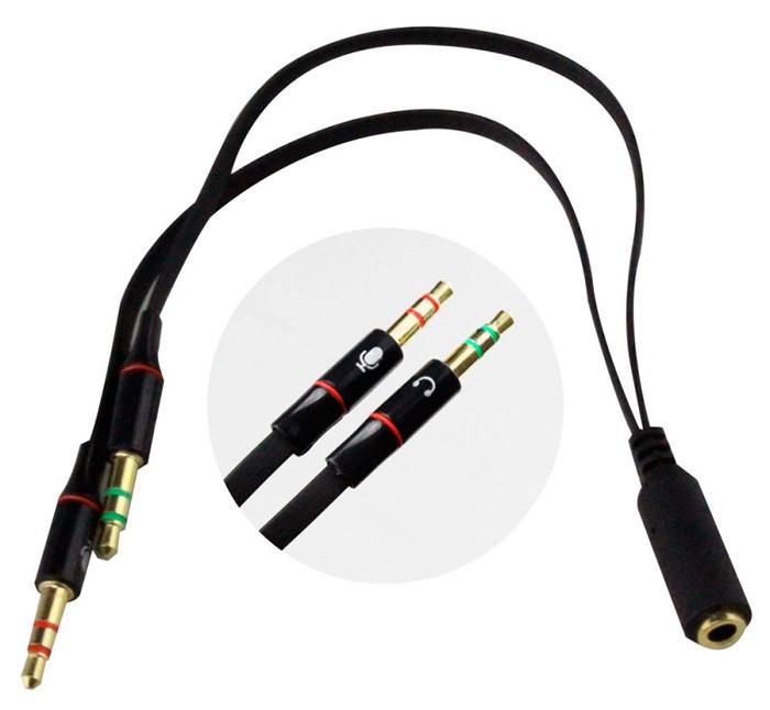 PCSHOP Informática Adaptador P2 para P3 1 Fêmea P3 2 Macho P2 Fone Microfone Headset