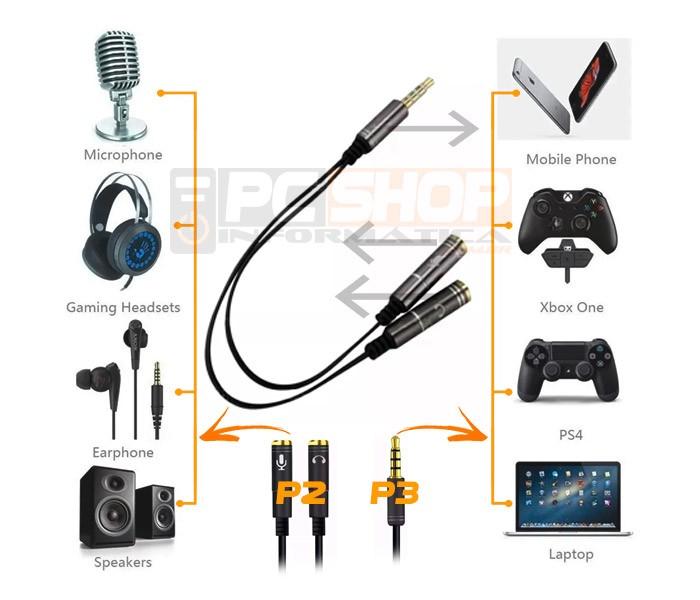 PCSHOP Informática Adaptador P3 para P2 Fone Microfone Headset 2 Entradas 1 Saída