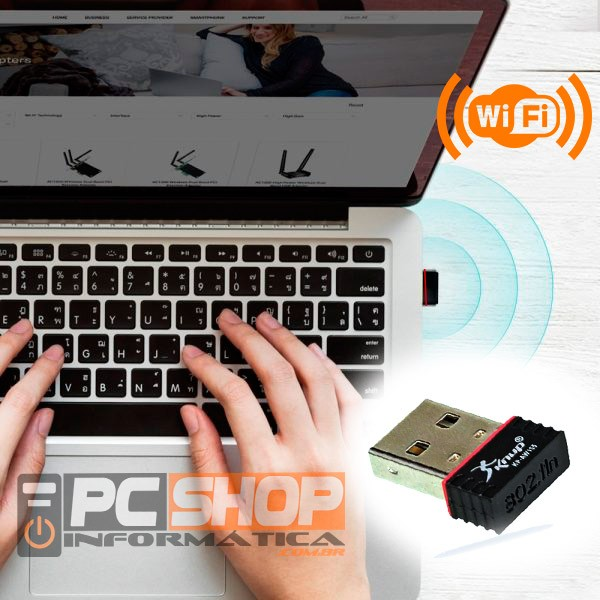 PCSHOP Informática Adaptador Wifi USB Wireless 150mbps Nano Knup KP-AW155