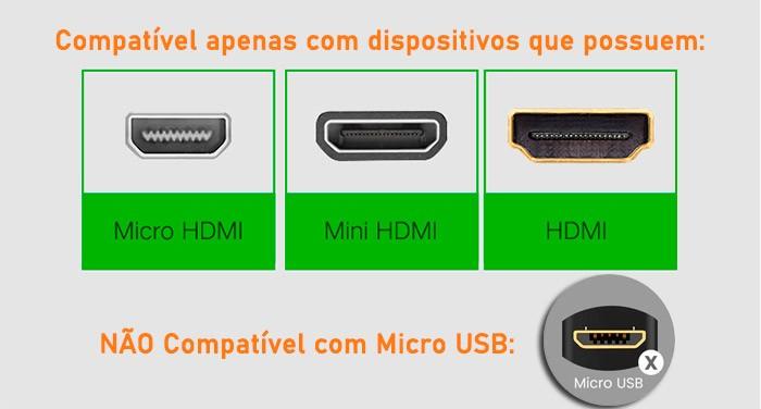 PCSHOP Informática Cabo HDMI 1.4 1080p 3 em 1 com Adaptador Micro e Mini HDMI 1,5m