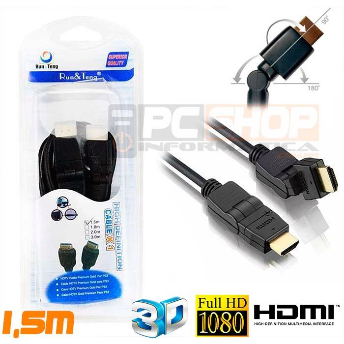 PCSHOP Informática Cabo HDMI 1.4 HDTV 1080p Articulado 90º 180º nas 2 Pontas 1,5m HM-305