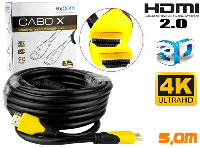 PCSHOP Informática Cabo HDMI 2.0 4K Ultra HD 3D Blindado com Filtro 5,0m 19pin Exbom CBX-HX50SM