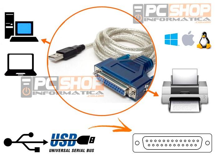 PCSHOP Informática Cabo Paralelo USB DB25 Fêmea para Impressora 1,50m