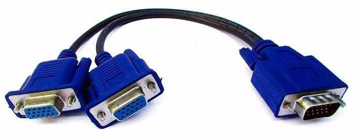 PCSHOP Informática Cabo Y VGA 1 Macho para 2 Fêmeas Ligue 2 Monitores em 1 PC XT-550