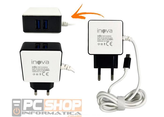 PCSHOP Informática Carregador de Celular 3.1A Cabo V8 + 2 Saídas USB CAR-G5083