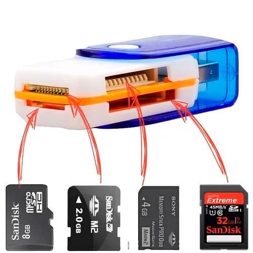 PCSHOP Informática Leitor de Cartão Memória USB 2.0 Universal Branco