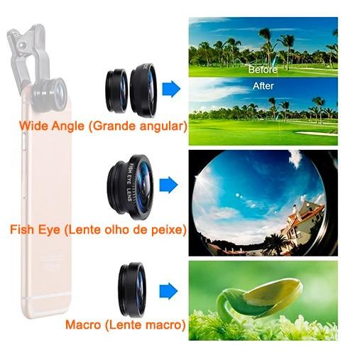 PCSHOP Informática Lente para Celular Kit 3x1 Macro/Fisheye/Wide com Clip Universal Preto