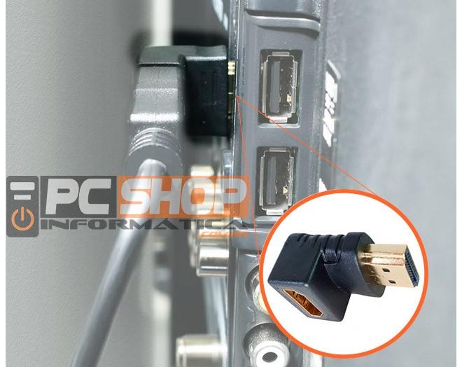 PCSHOP Informática Adaptador HDMI Curva em L 90 Graus Macho x Fêmea