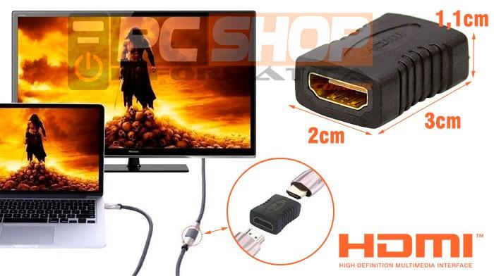 PCSHOP Informática Adaptador HDMI Emenda Fêmea x Fêmea Conector Junção