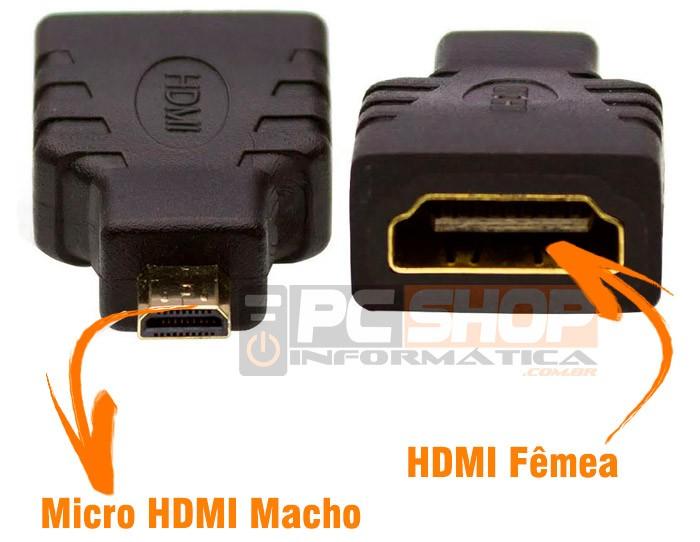 PCSHOP Informática Adaptador Micro HDMI Macho para HDMI Fêmea
