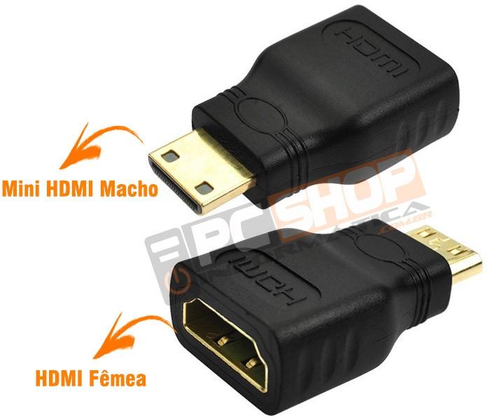 PCSHOP Informática Adaptador Mini HDMI Macho para HDMI Fêmea