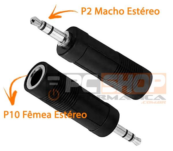PCSHOP Informática Adaptador Plug Conector P2 para P10 Estéreo