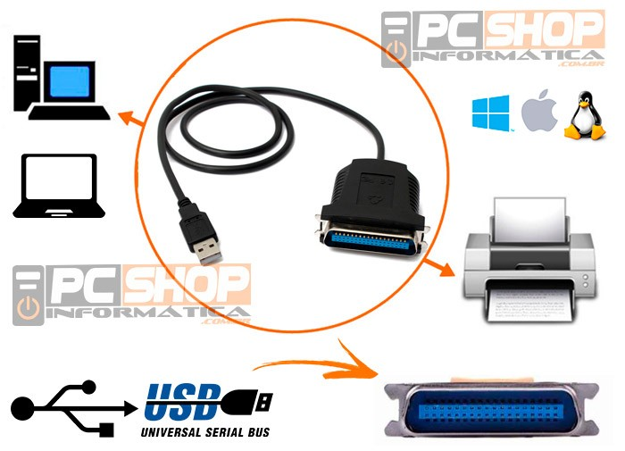 PCSHOP Informática Cabo Paralelo USB 36Pin Fêmea para Impressora 0,80m