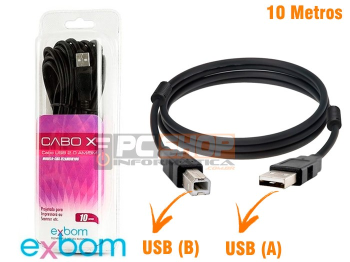 PCSHOP Informática Cabo USB para Impressora 10,0m 2.0 AM BM Preto Com Filtro Exbom