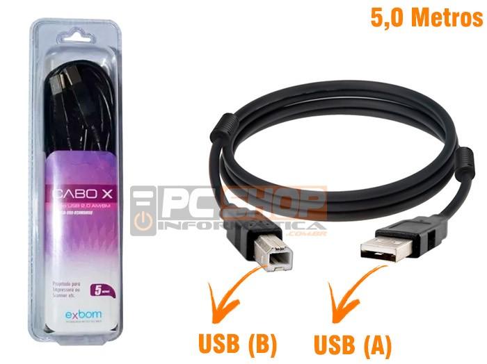 PCSHOP Informática Cabo USB para Impressora 5,0m 2.0 AM BM Preto Com Filtro Exbom
