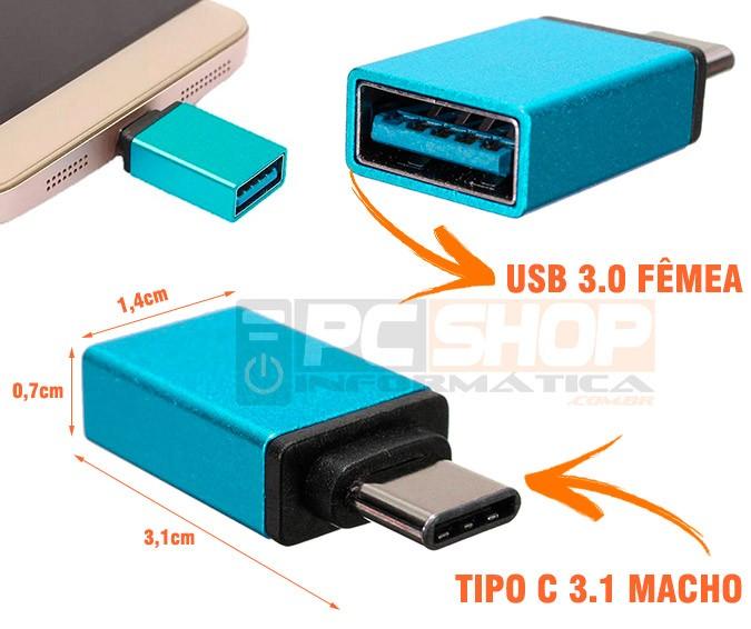 PCSHOP Informática Adaptador Tipo C para USB Fêmea OTG