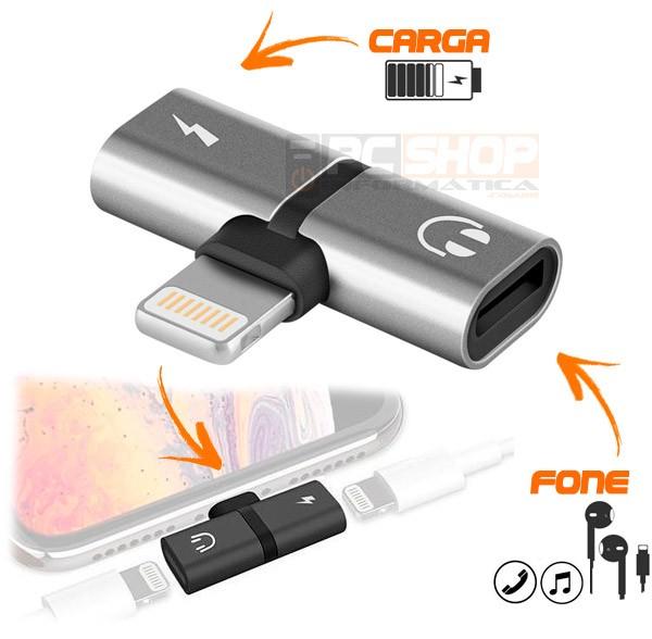 PCSHOP Informática Adaptador de iPhone para Fone e Carregador Lightning Duplo