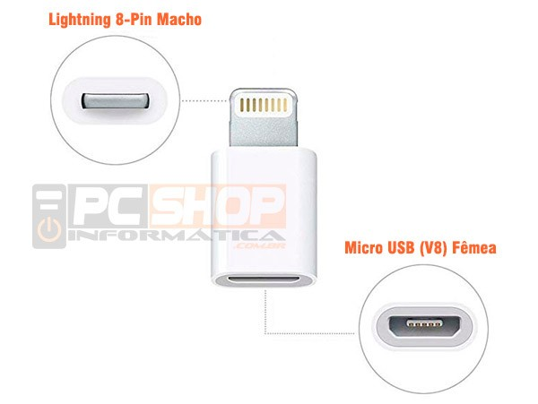 PCSHOP Informática Adaptador iPhone Apple Lightning para Micro USB V8 OTG