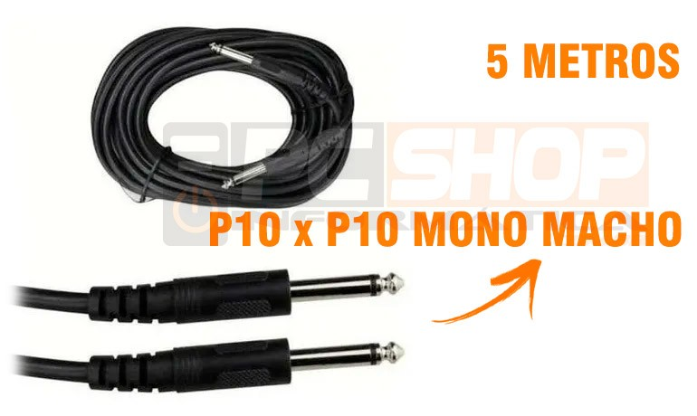 PCSHOP Informática Cabo P10 P10 Mono Preto 5,0m
