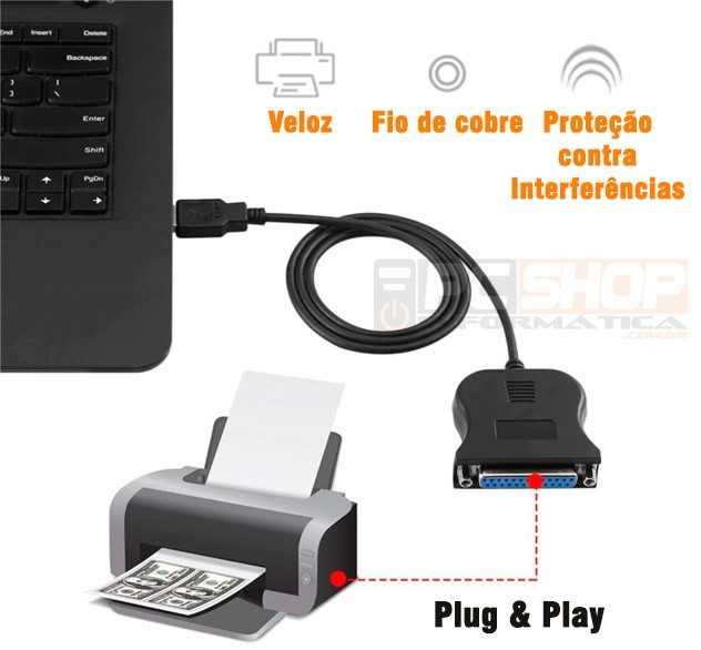 PCSHOP Informática Cabo Paralelo USB DB25 Fêmea para Impressora 0,80m