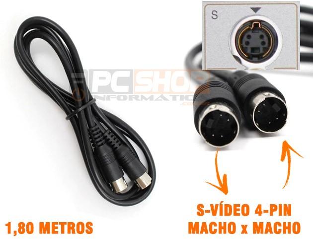 PCSHOP Informática Cabo S Vídeo Super Vídeo Mini Din 4 Pinos Macho Macho 1,80m