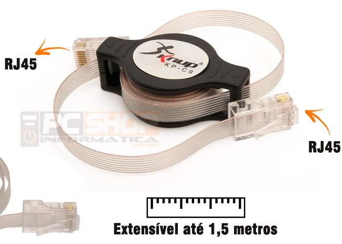 PCSHOP Informática Cabo de Rede Retrátil RJ45 1,5m Knup KP-C9