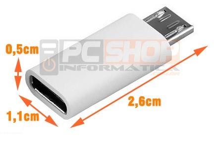 PCSHOP Informática Adaptador Micro USB para USB Tipo C OTG